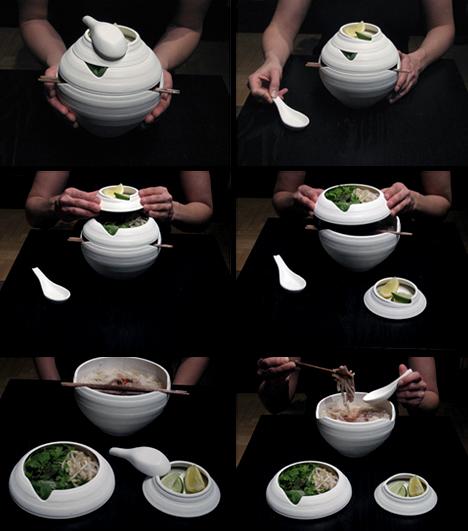Lantern Shaped Pho Bowl Set in Use